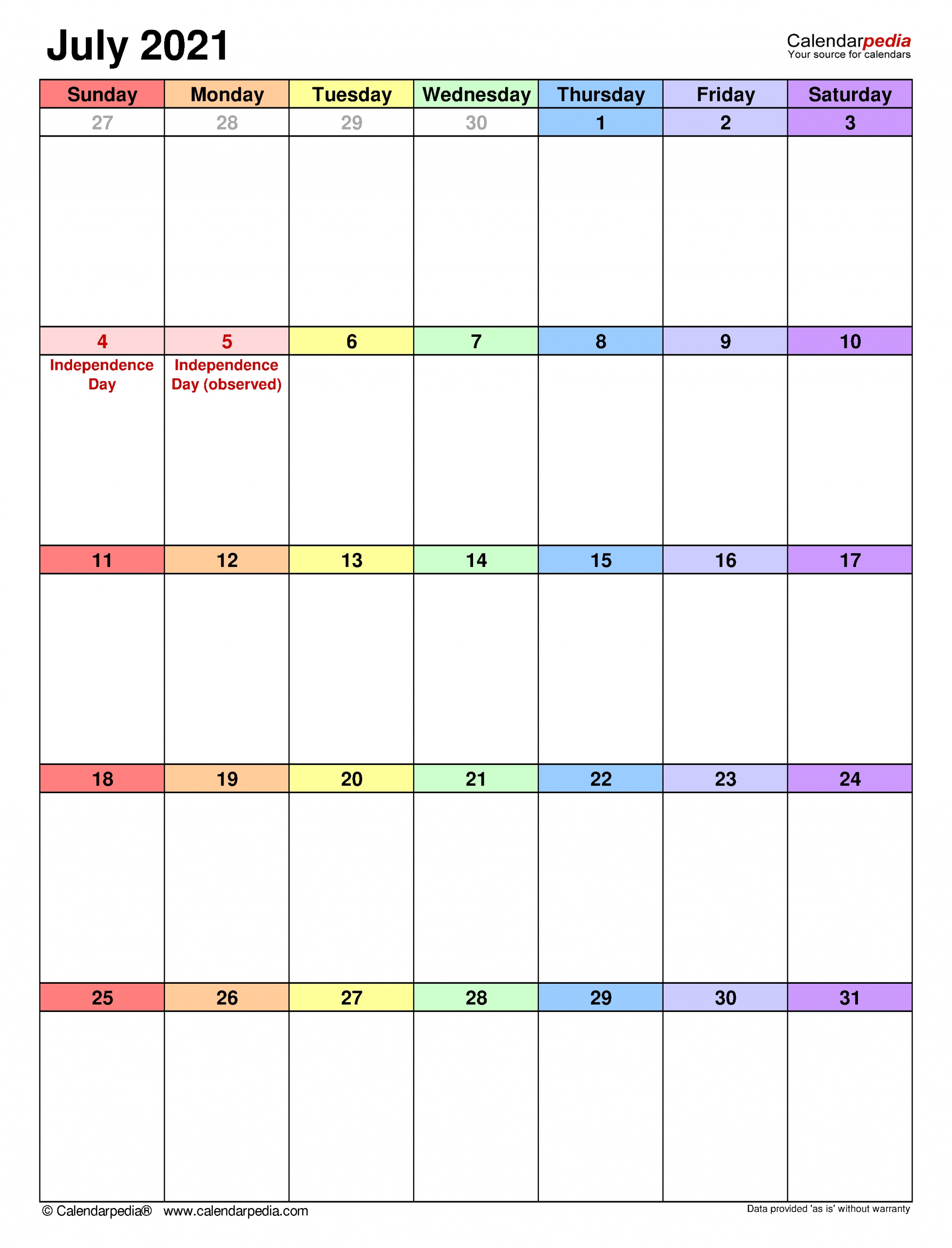 July 2021 Calendar | Templates For Word, Excel And Pdf