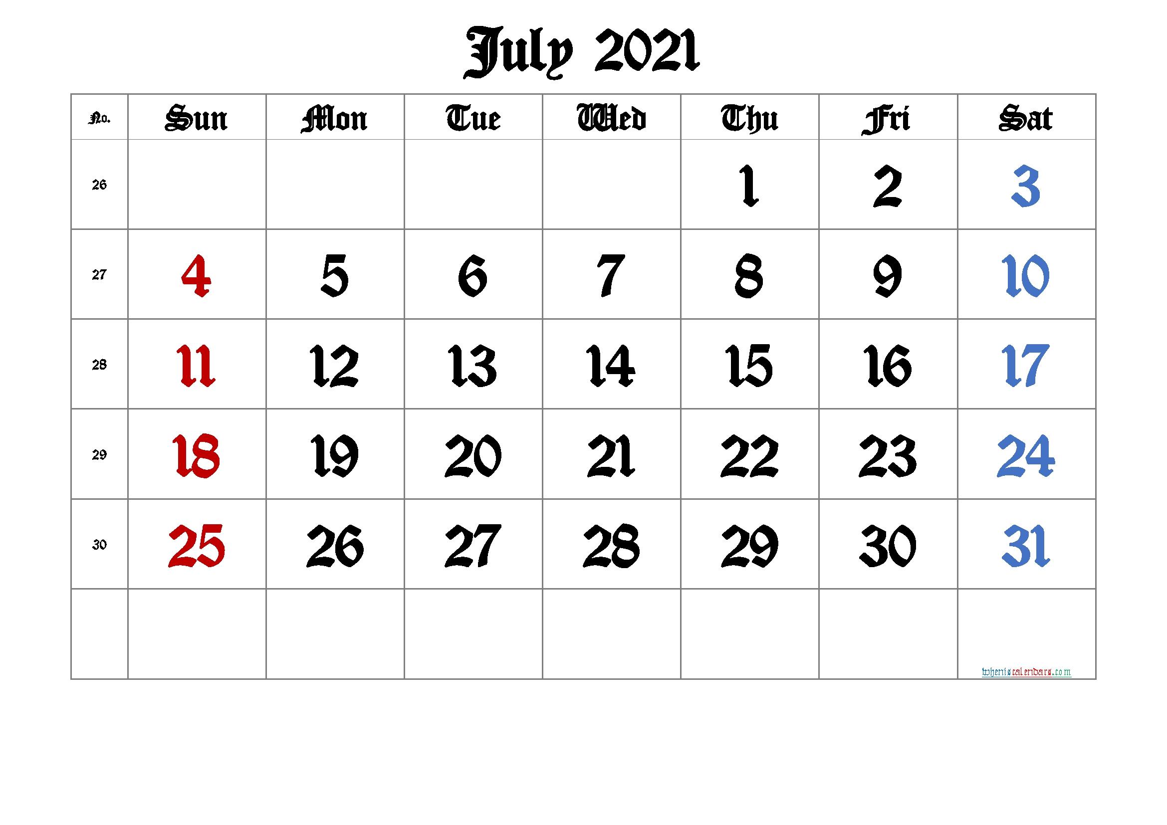July 2021 Printable Calendar With Week Numbers [Free