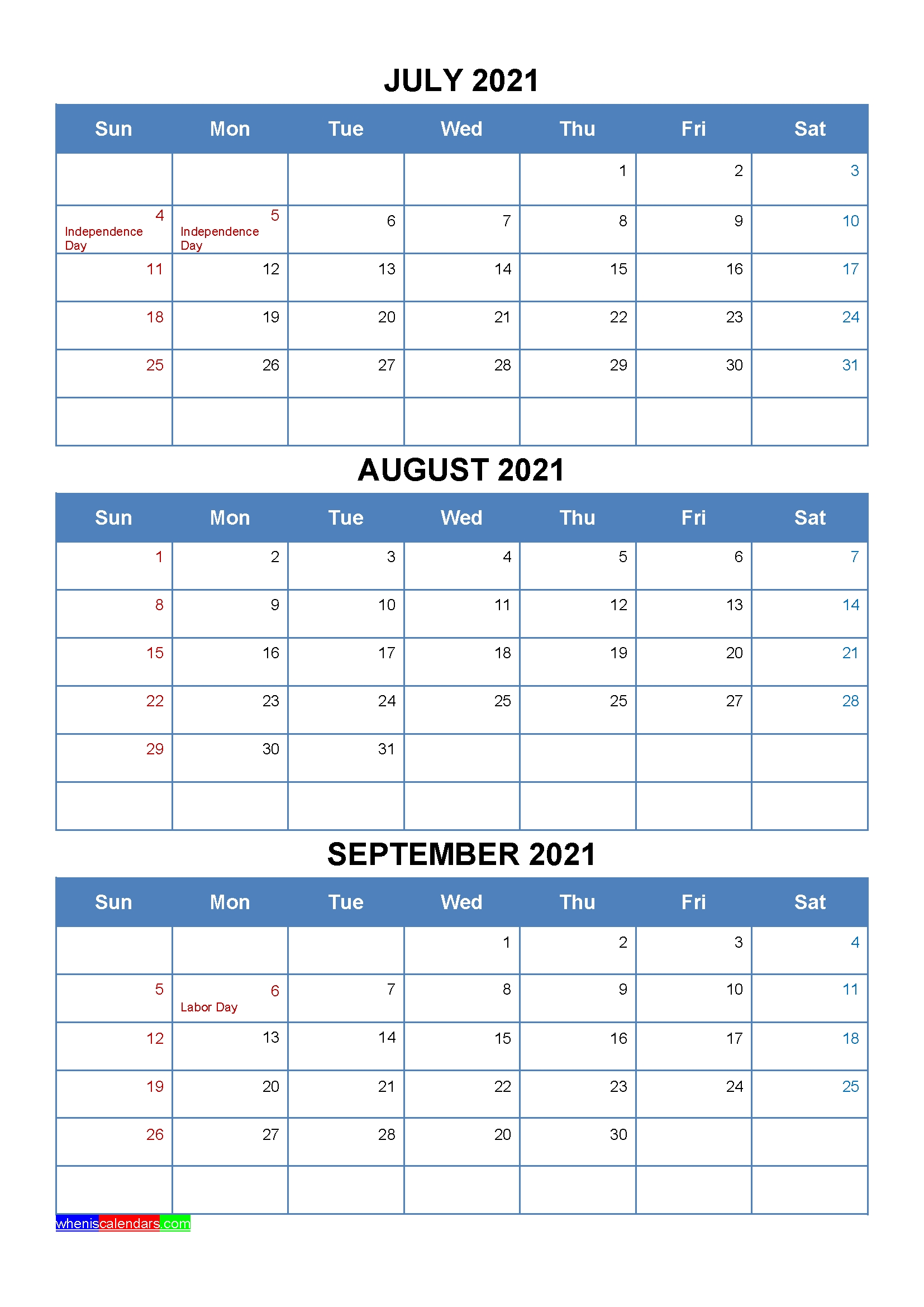 July August September 2021 Calendar With Holidays [Four