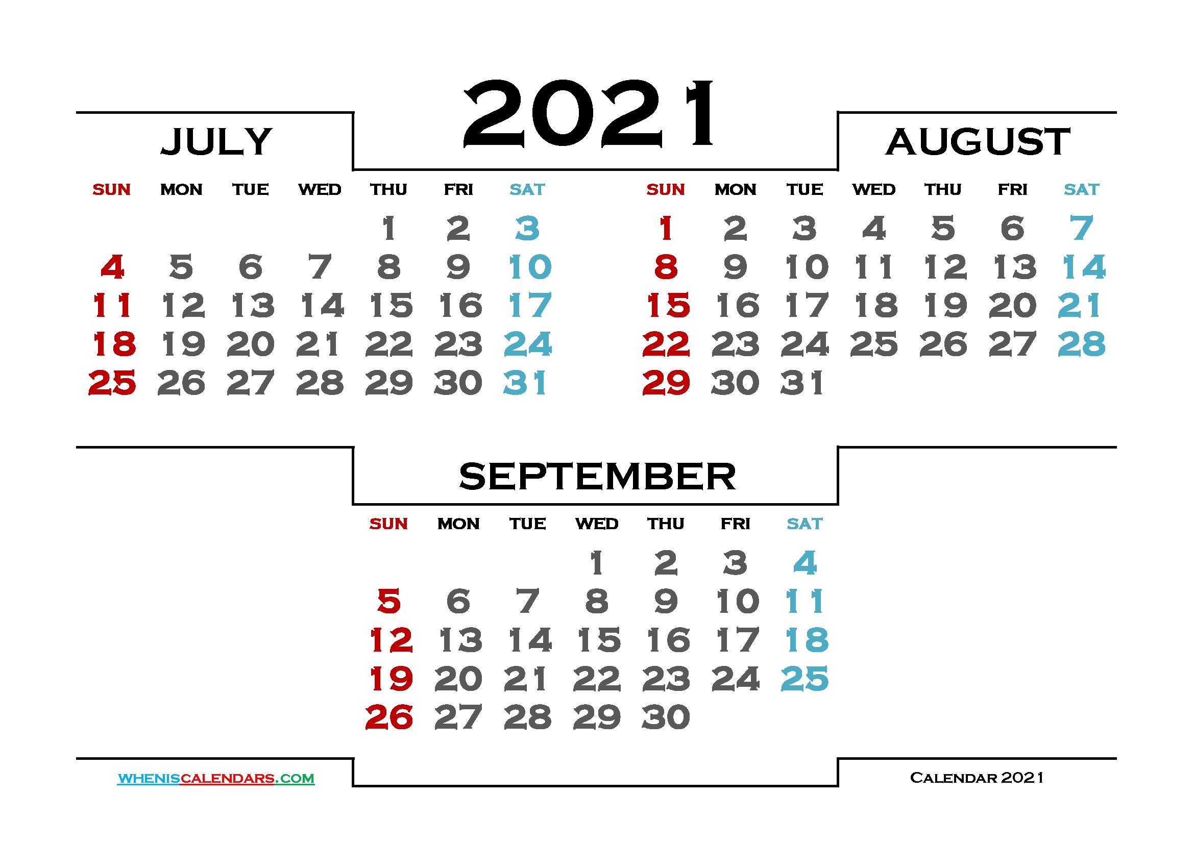July August September 2021 Printable Calendar 214876