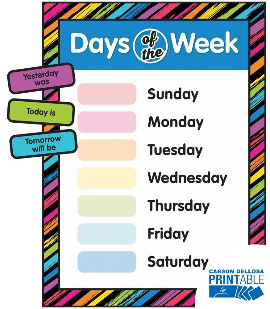 Just Teach Neon Days Of The Week Printable Bulletin Board