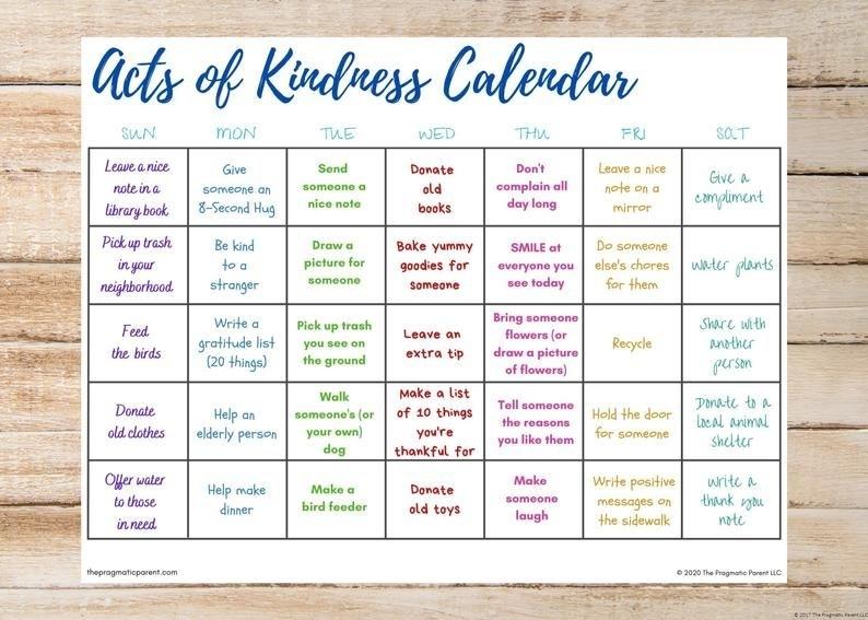 Kids'S Acts Of Kindness Calendar Kindness Calendar   Etsy