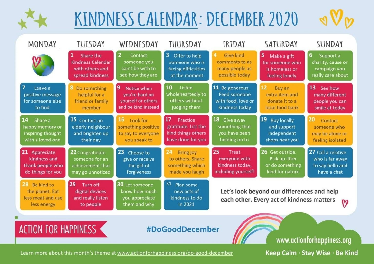 Kindness Calendar: December 2020 - Southfields Primary School