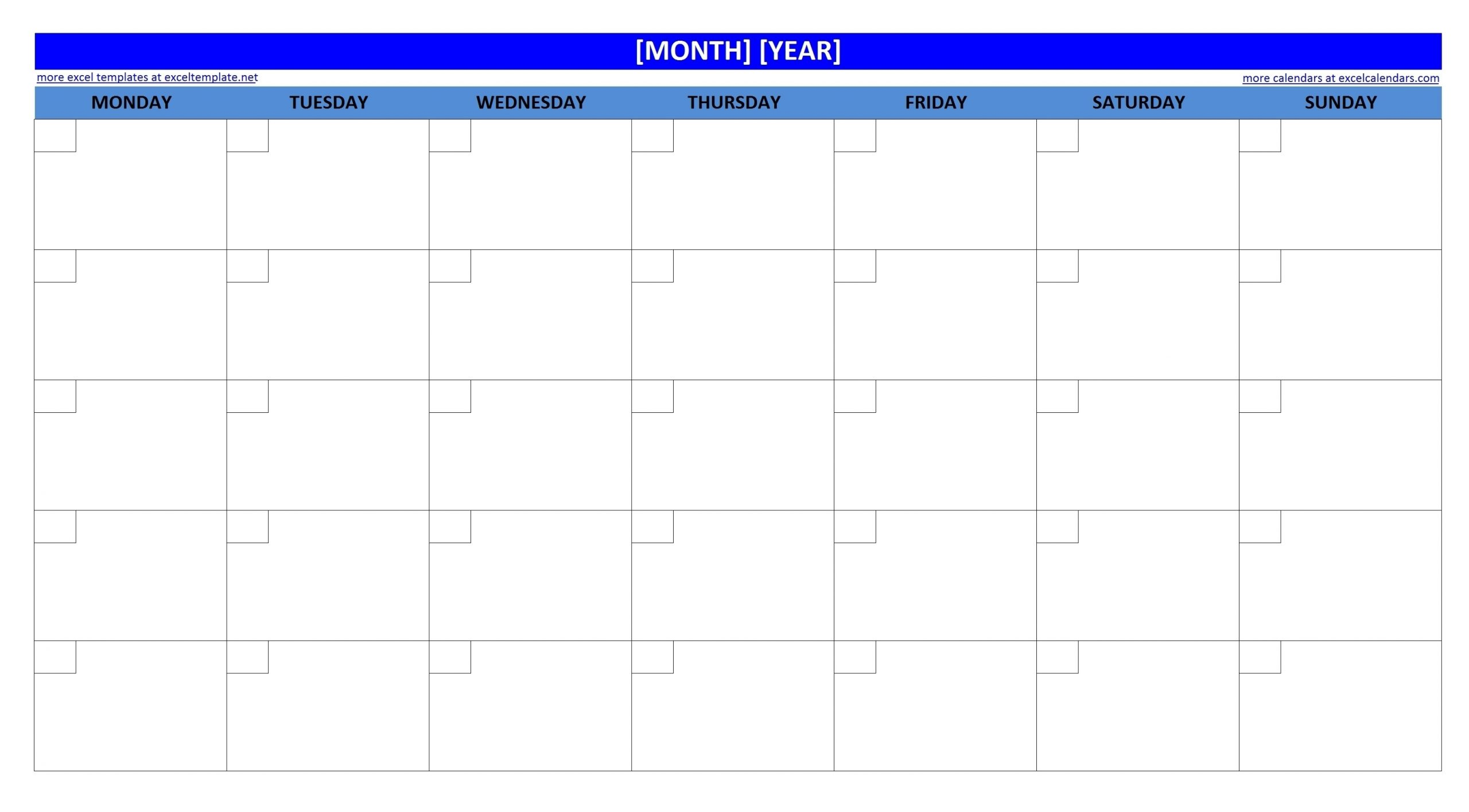 Large Empty Monthly Calendar Monday Start - Template