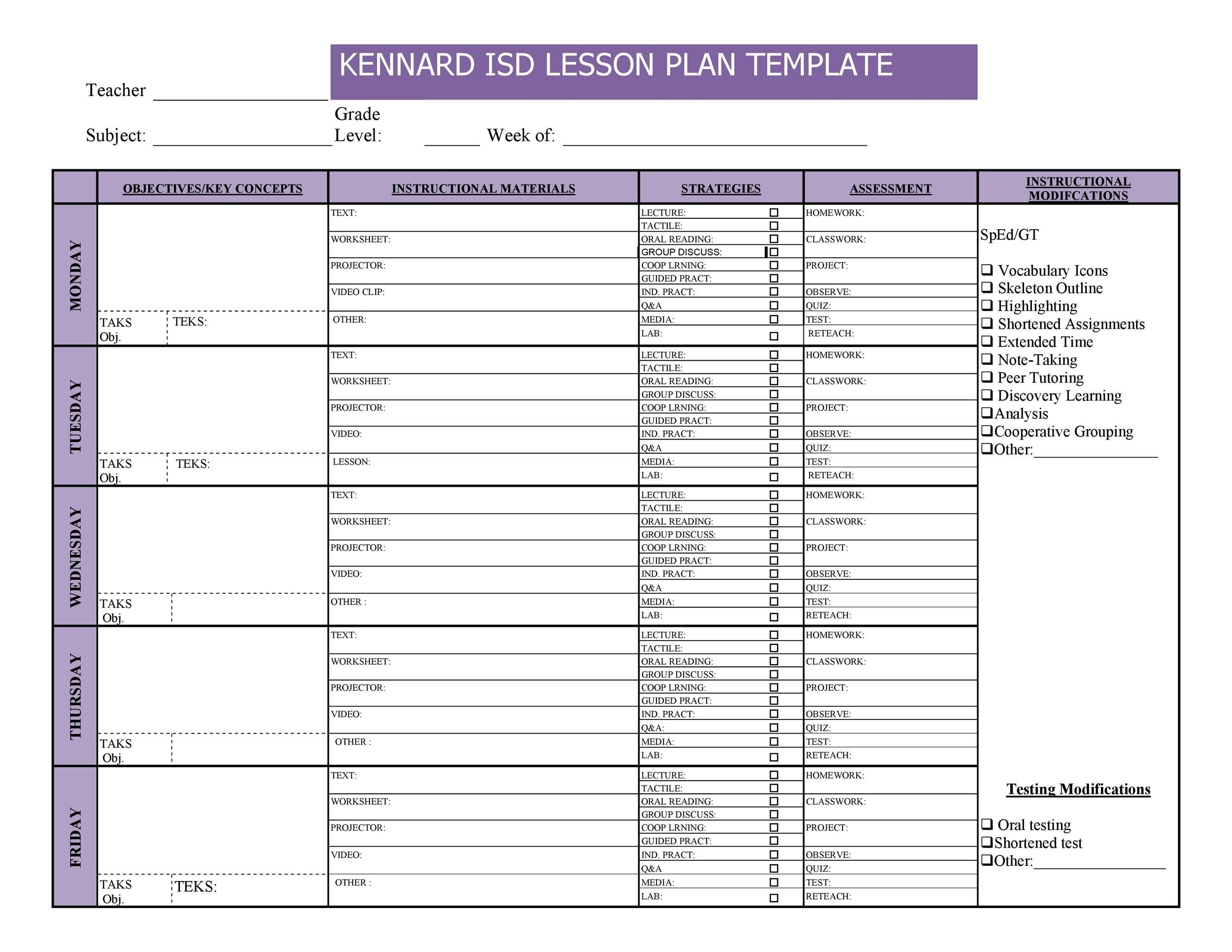Lesson Plan Template Weekly Prescool Plannar :-Free