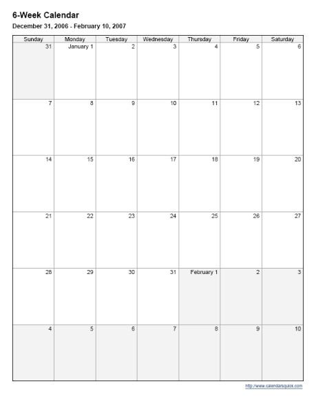 Lovely 6 Week Printable Calendar | Free Printable Calendar