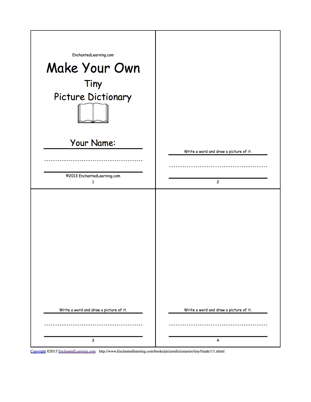 Make Your Own Tiny Picture Dictionary - A Short Book To