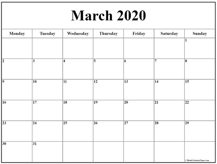 March 2020 Monday Calendar   Monday To Sunday In 2020
