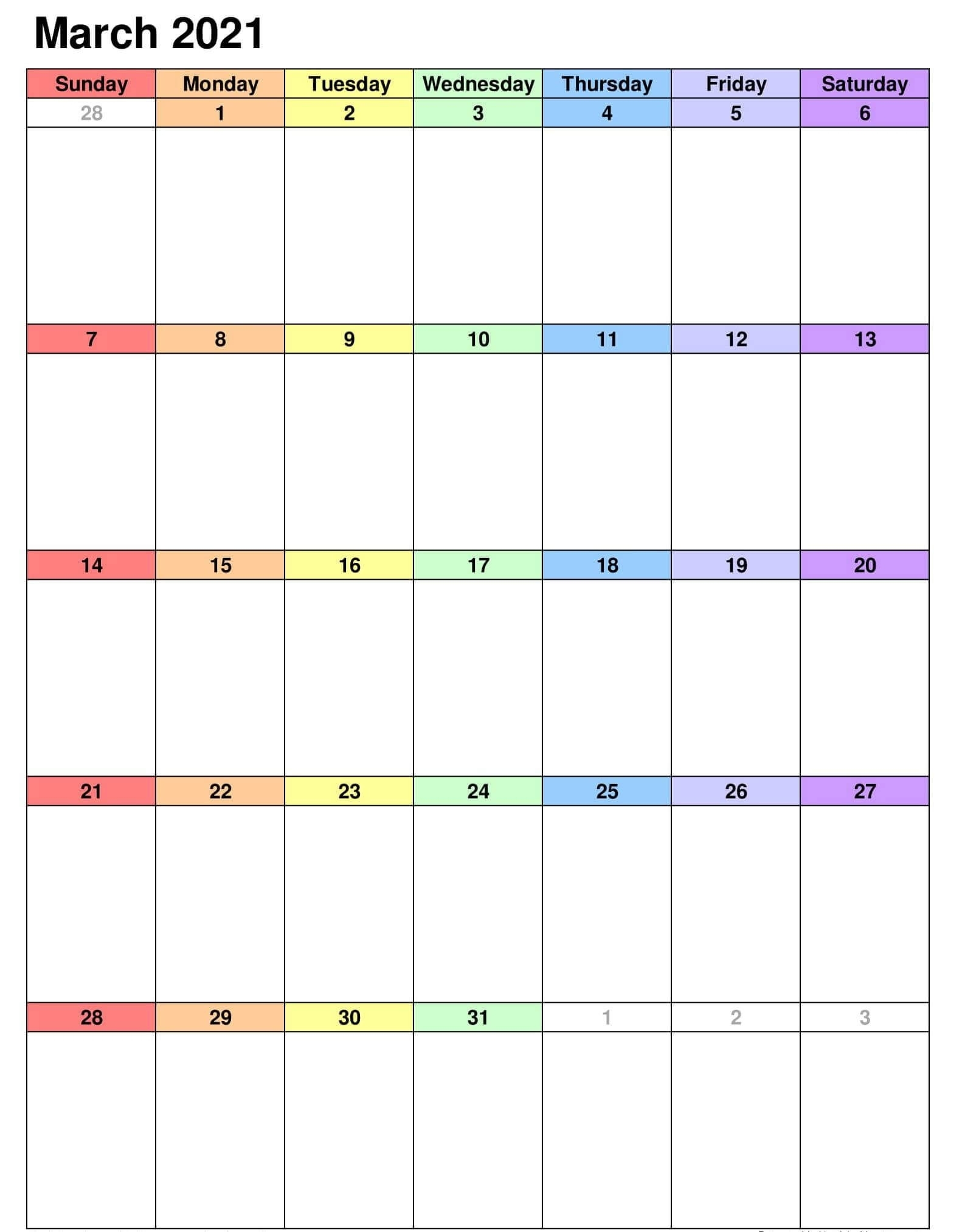 March 2021 Calendar Excel Template Printable - One