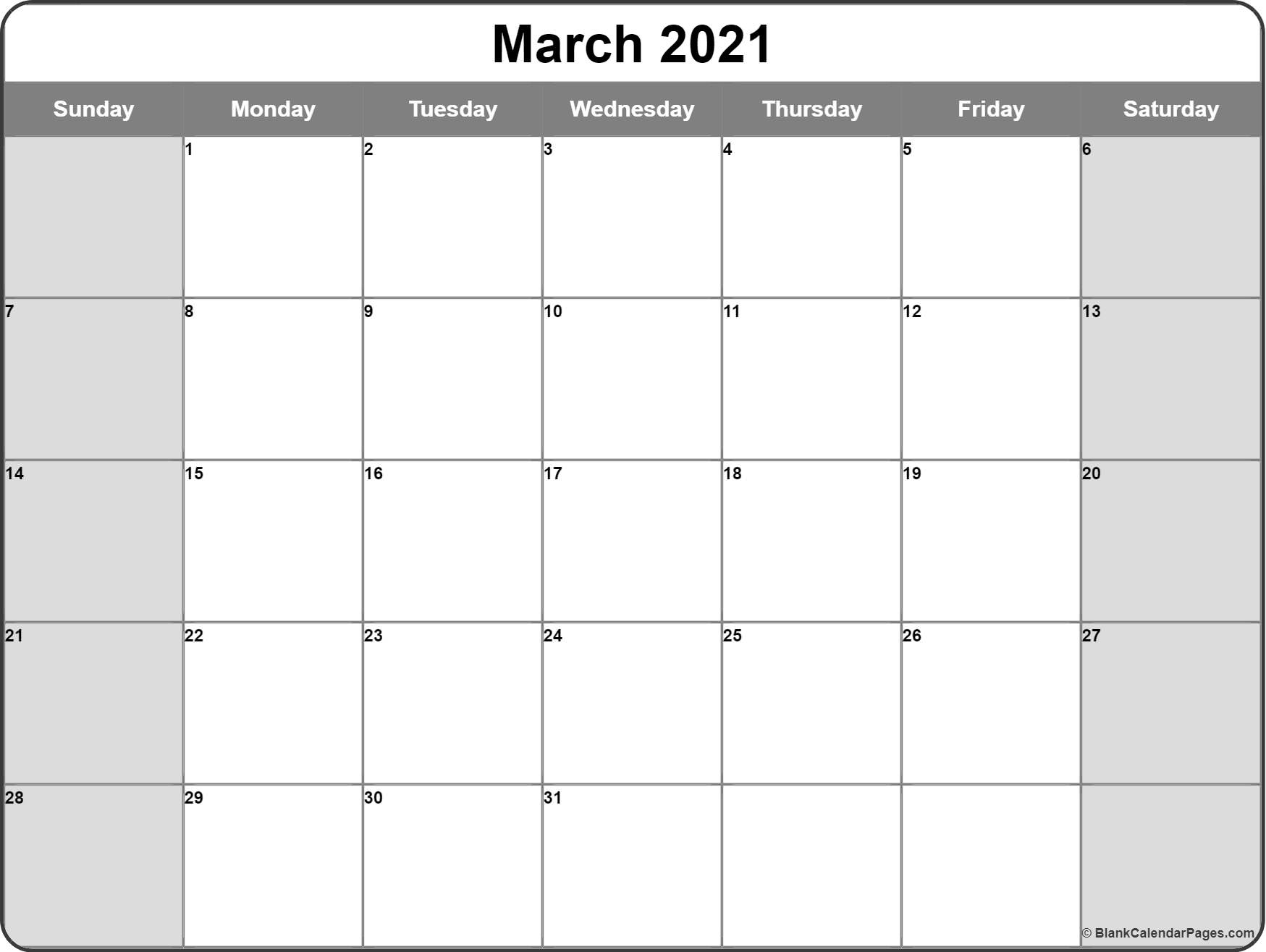 March 2021 Calendar   Free Printable Calendar Templates