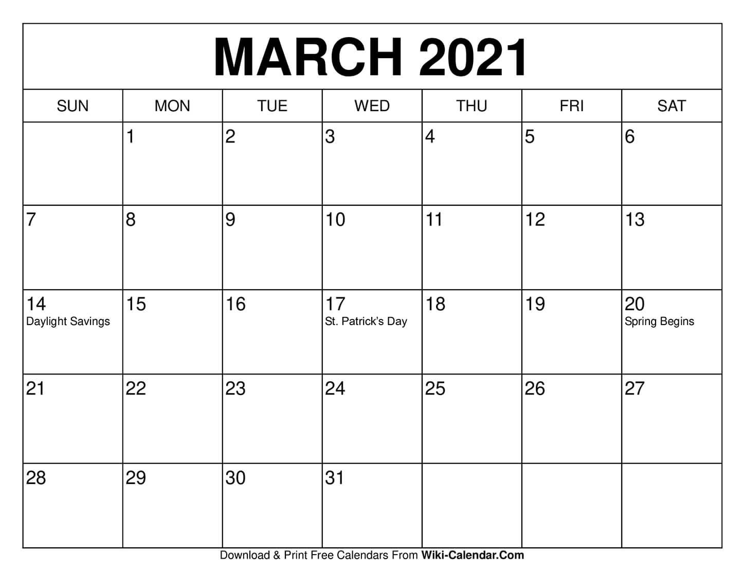 March 2021 Printable Calendar   Free 2021 Printable Calendars