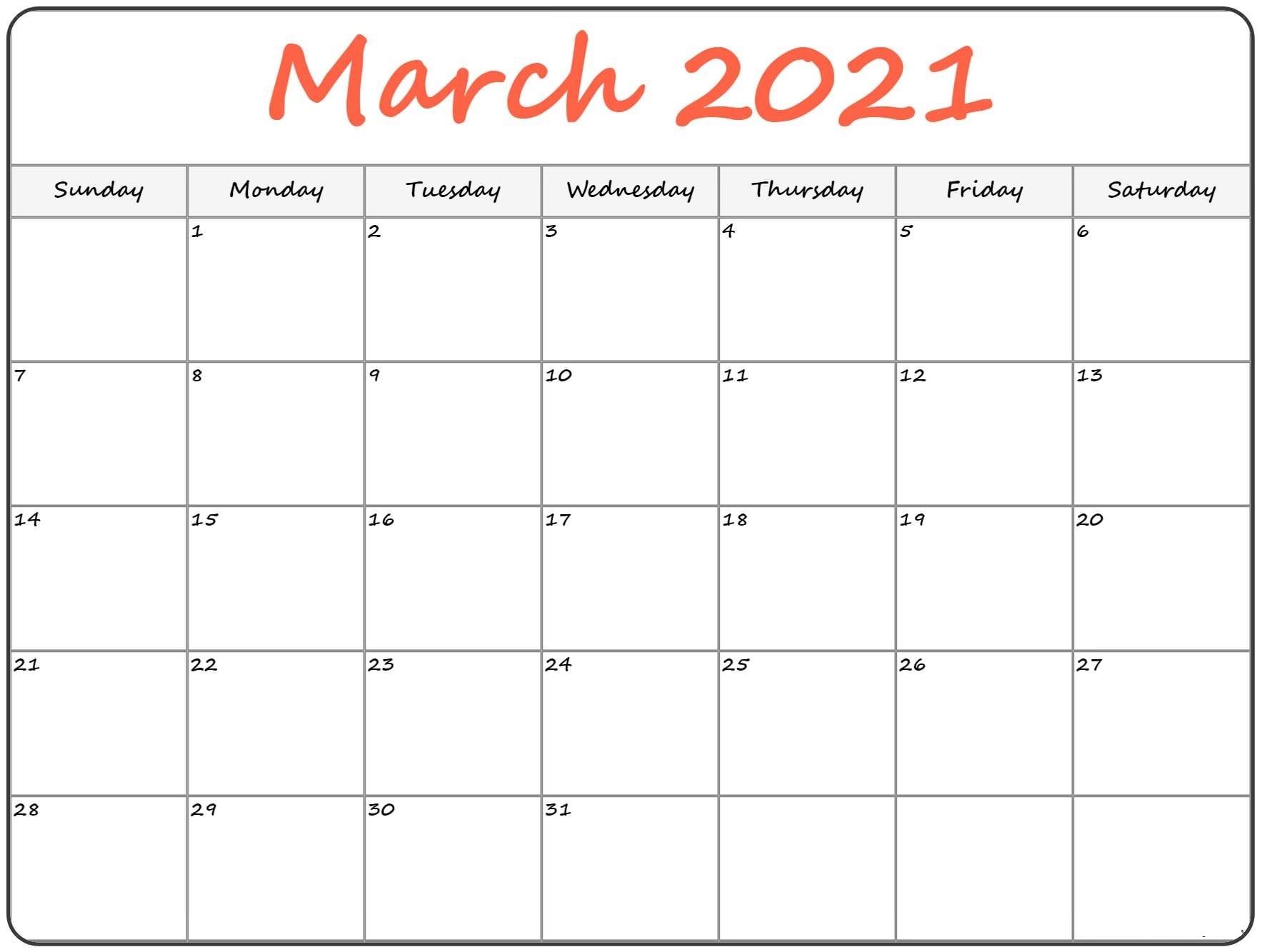 March 2021 Printable Calendar Notes Templates - One