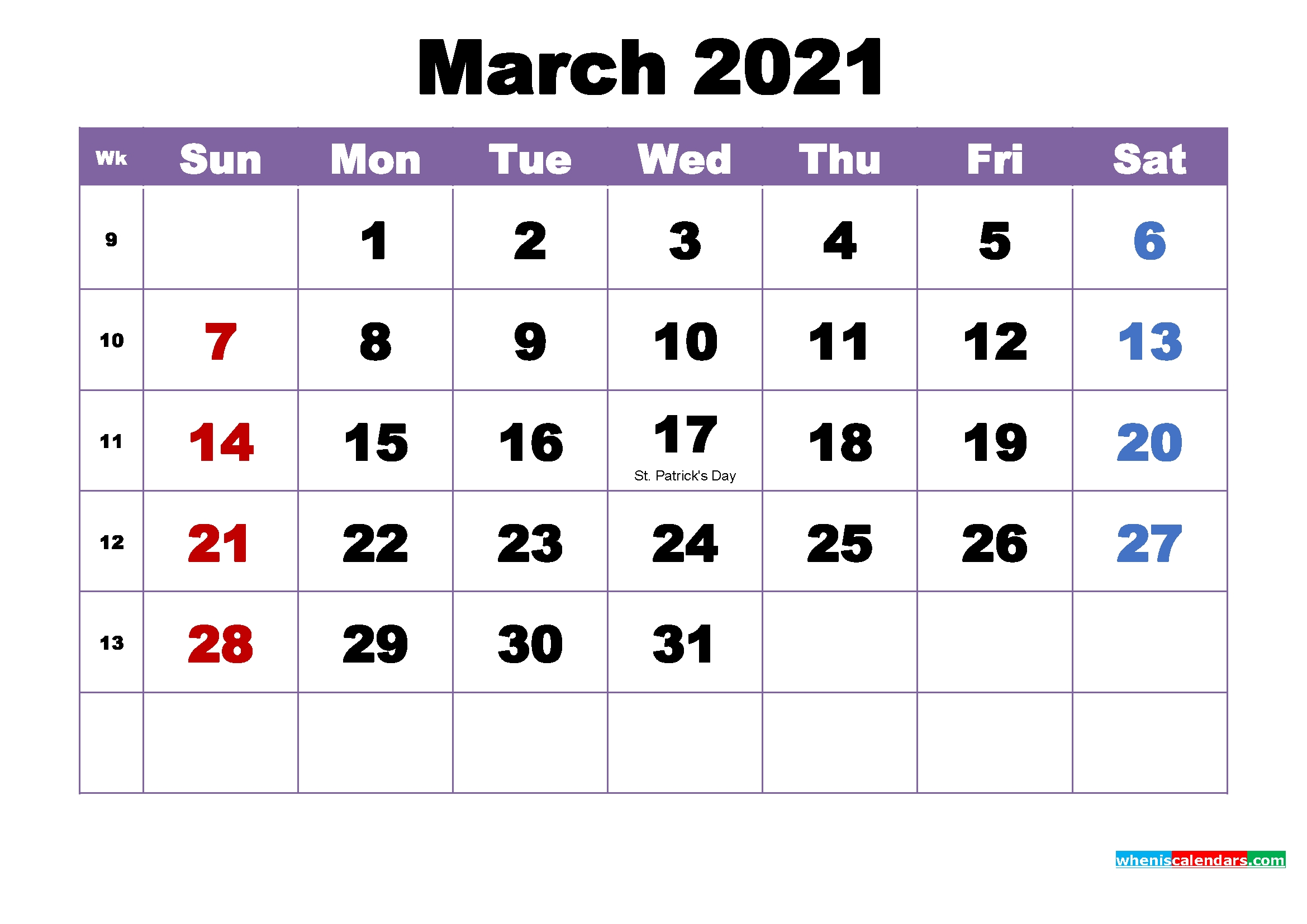 March 2021 Printable Calendar With Holidays Word, Pdf