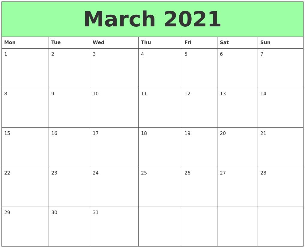 March 2021 Printable Calendars