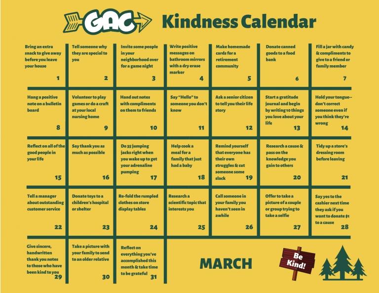 March Kindness Calendar - Gold Arrow Camp - California