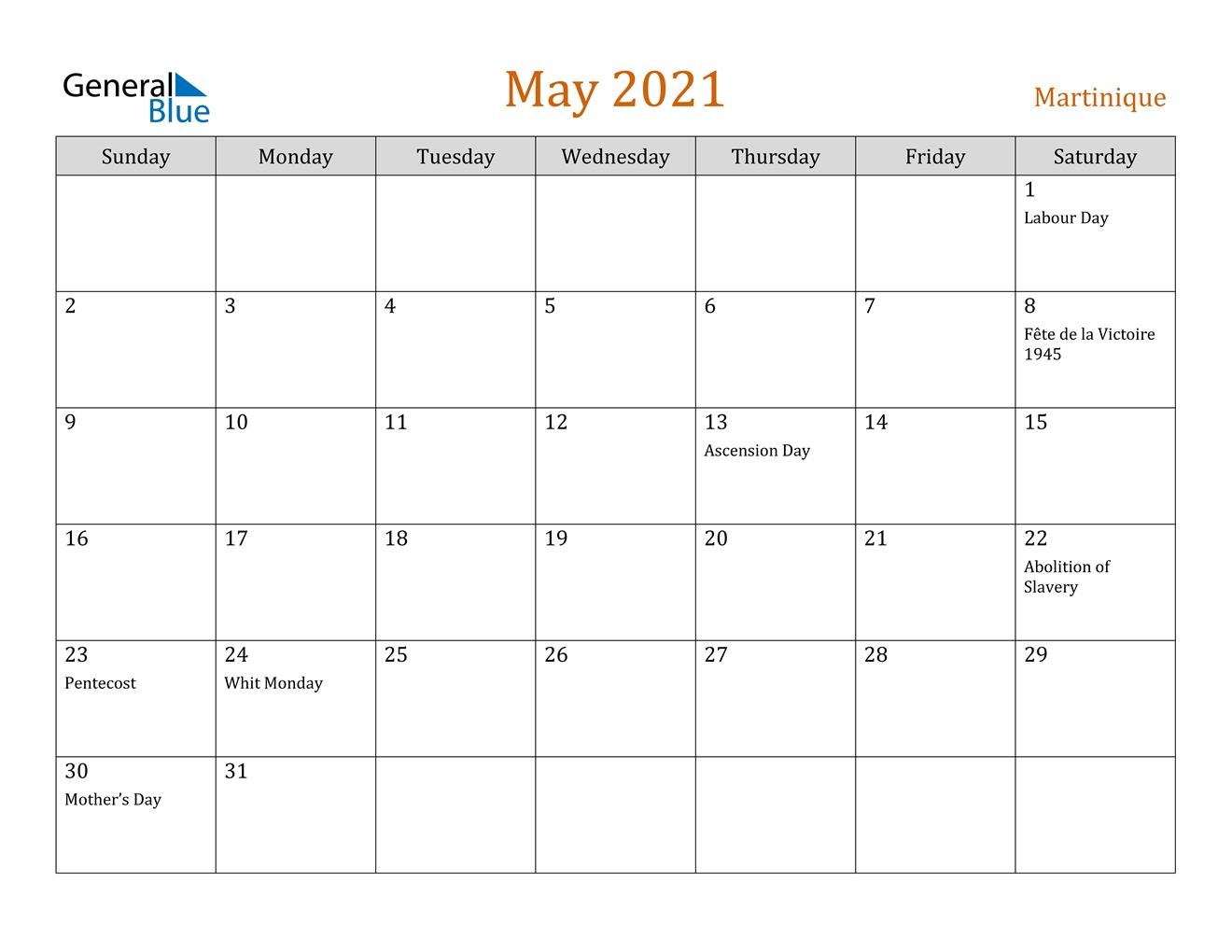 May 2021 Calendar - Martinique