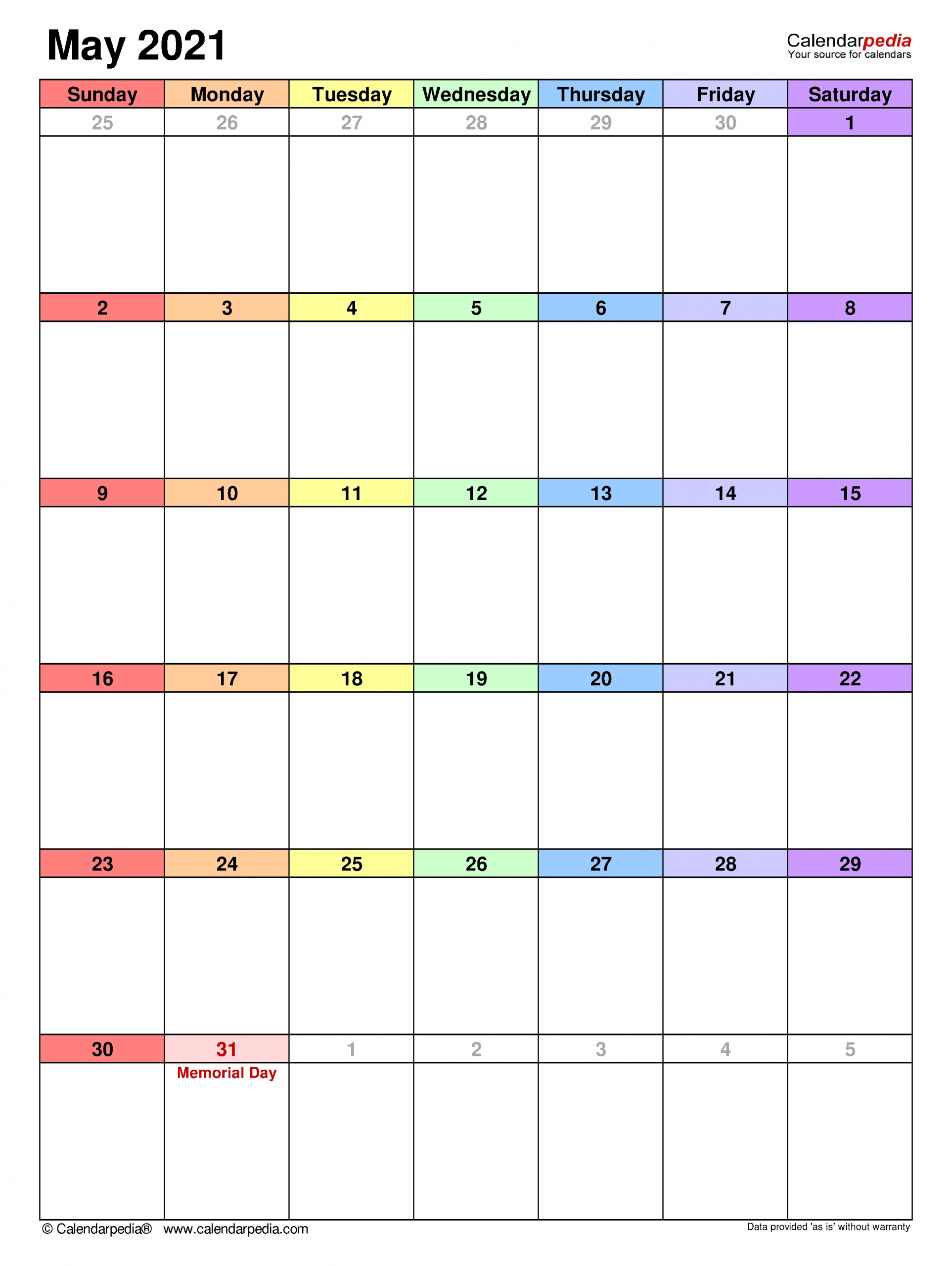 May 2021 Calendar   Templates For Word, Excel And Pdf