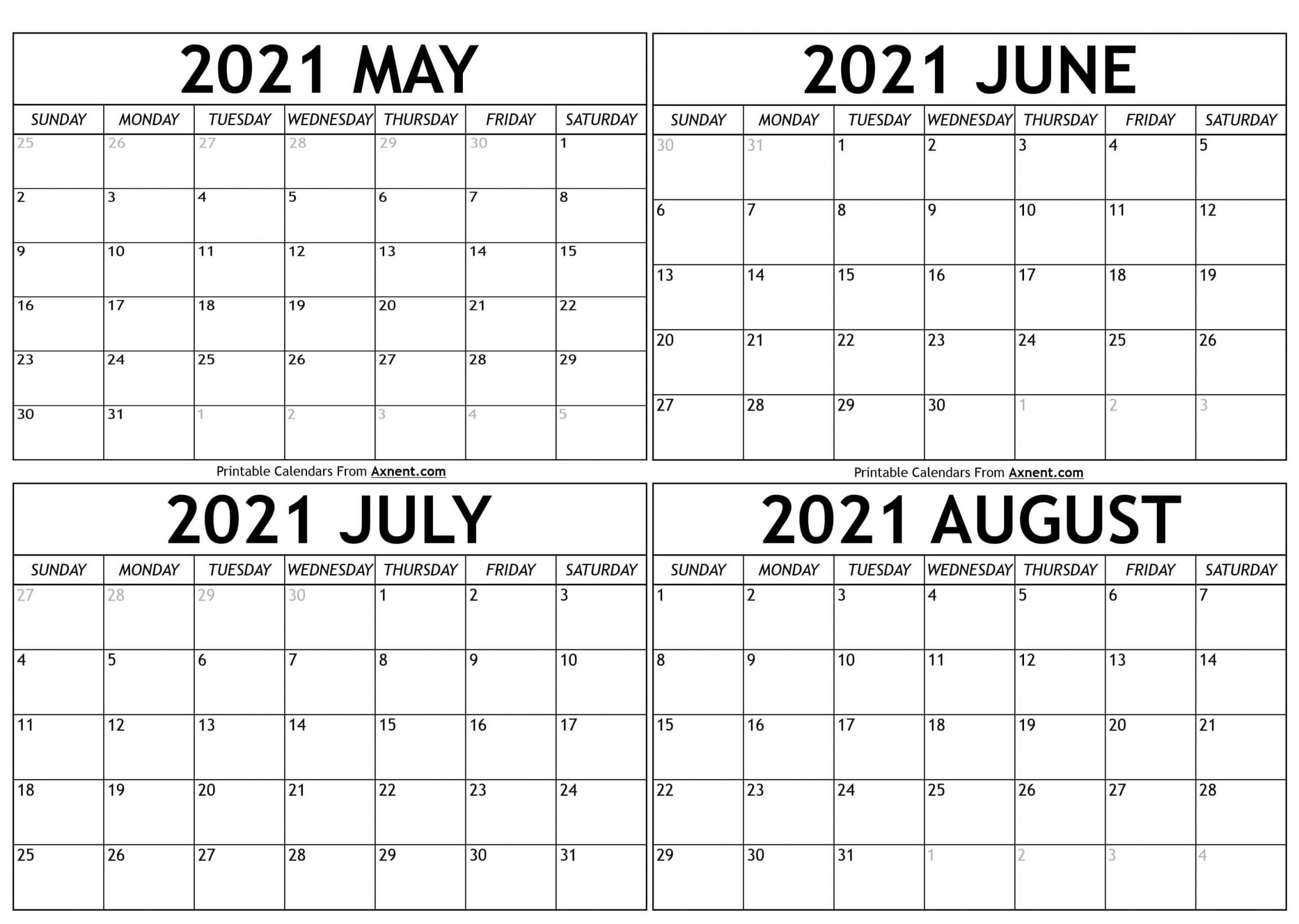 May To August 2021 Calendar Templates - Four Months