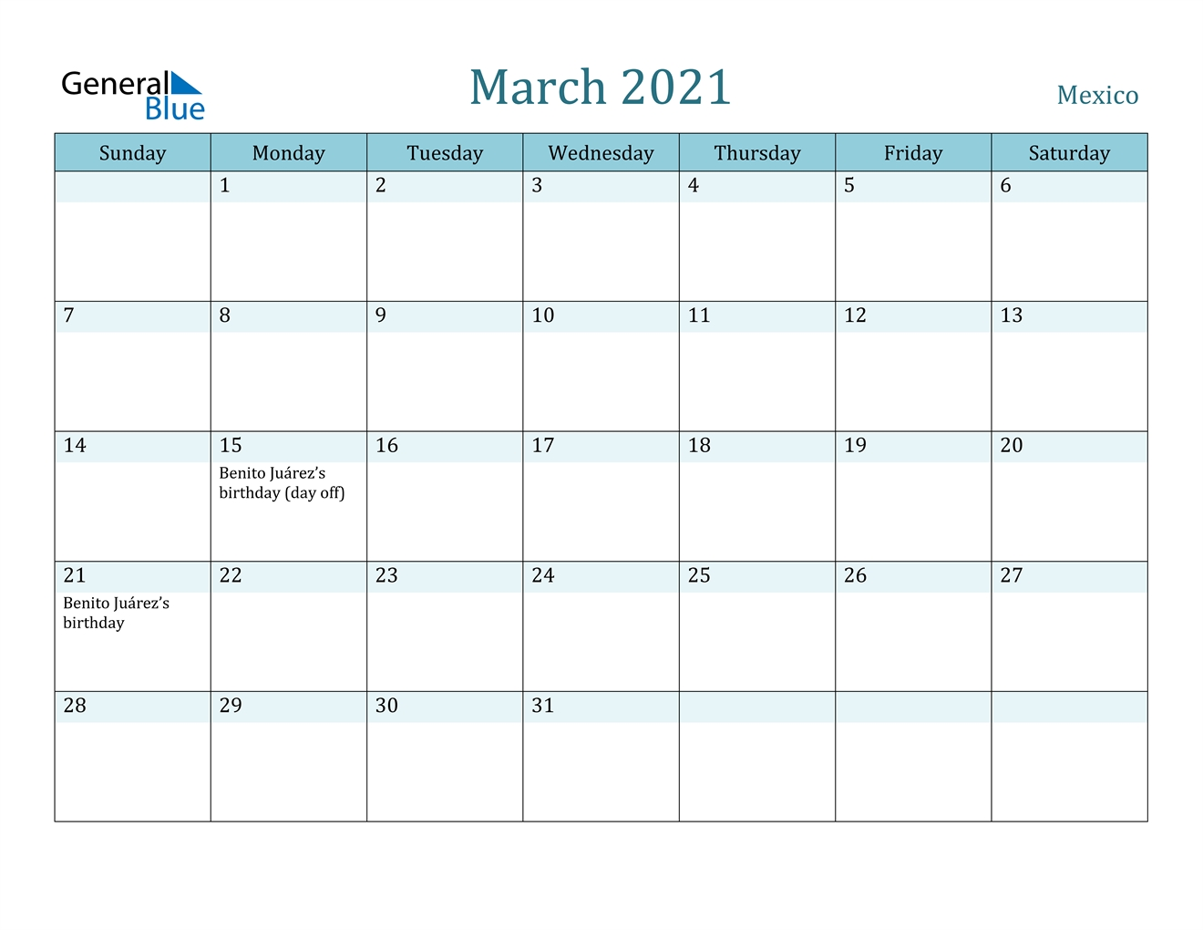 Mexico March 2021 Calendar With Holidays