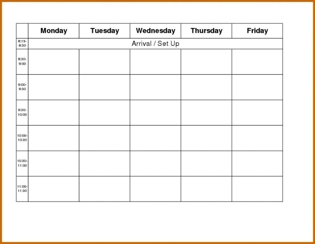 Mon Thru Friday Weekly Blank Calendar   Example Calendar
