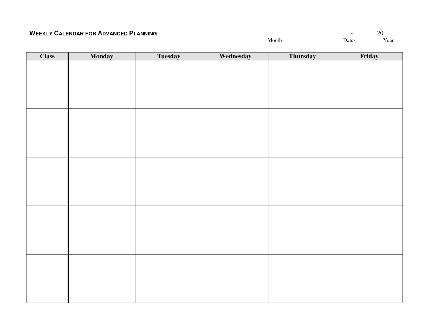 Mon To Friday Monthly Calendar Templates | Calendar