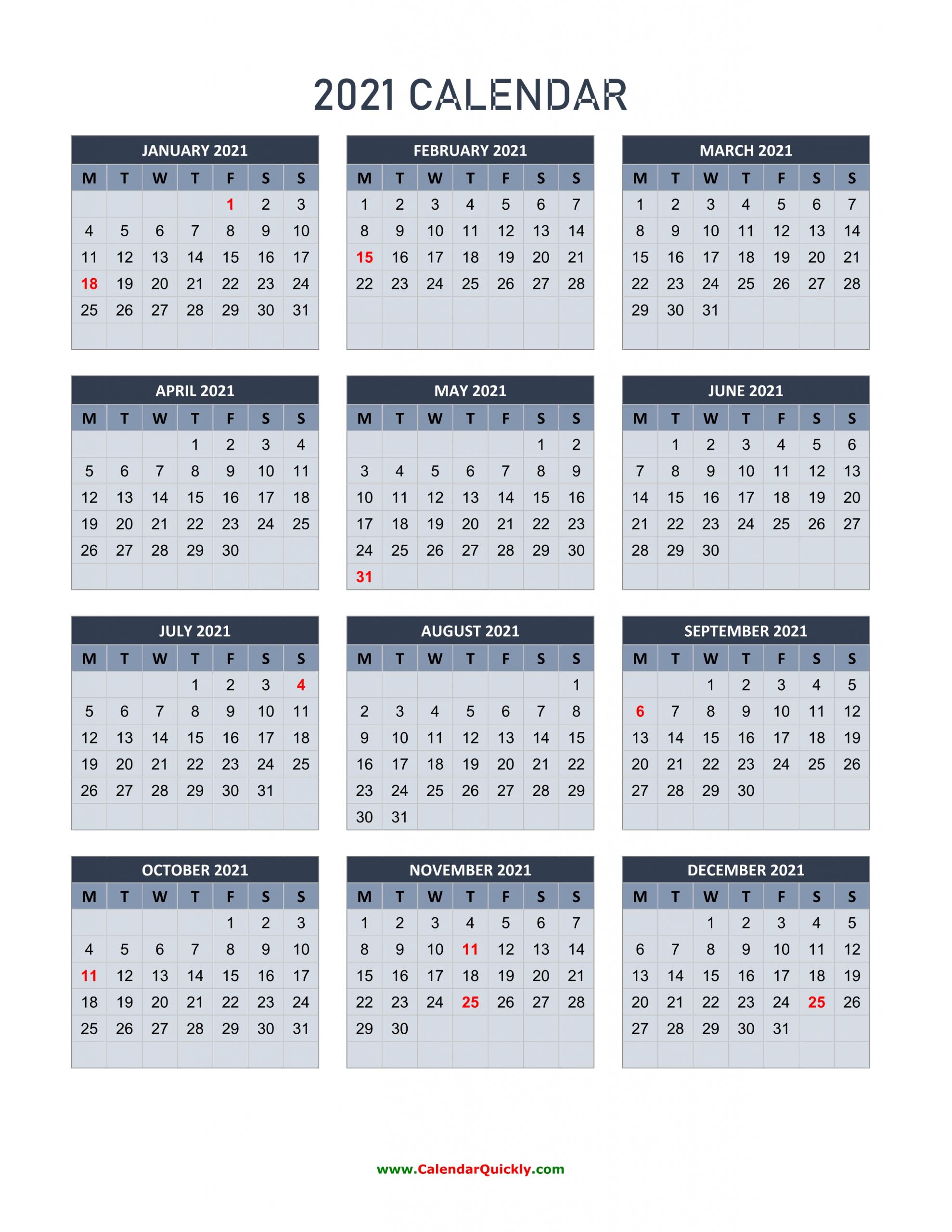 Monday 2021 Calendar Vertical | Calendar Quickly