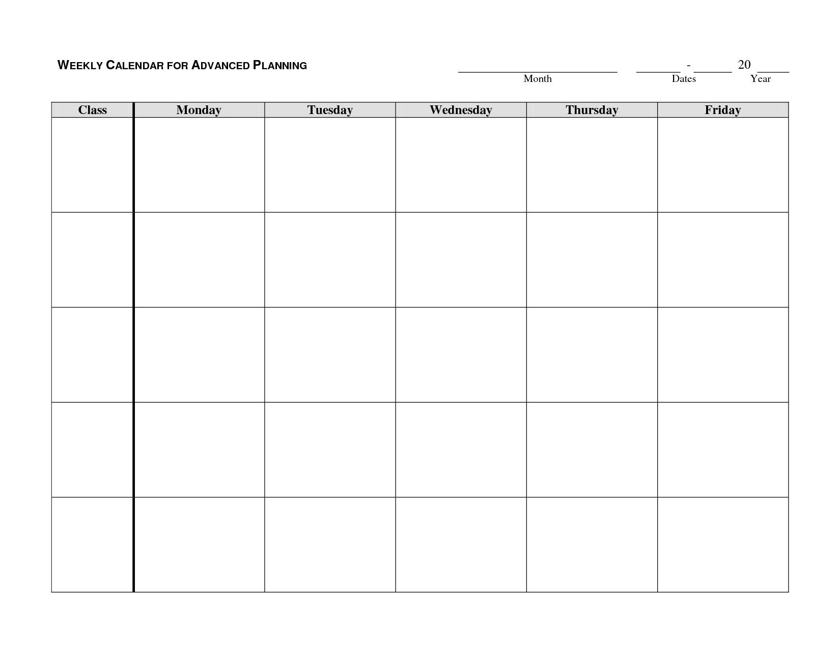 Editable Monday Through Friday Weekly Calendar
