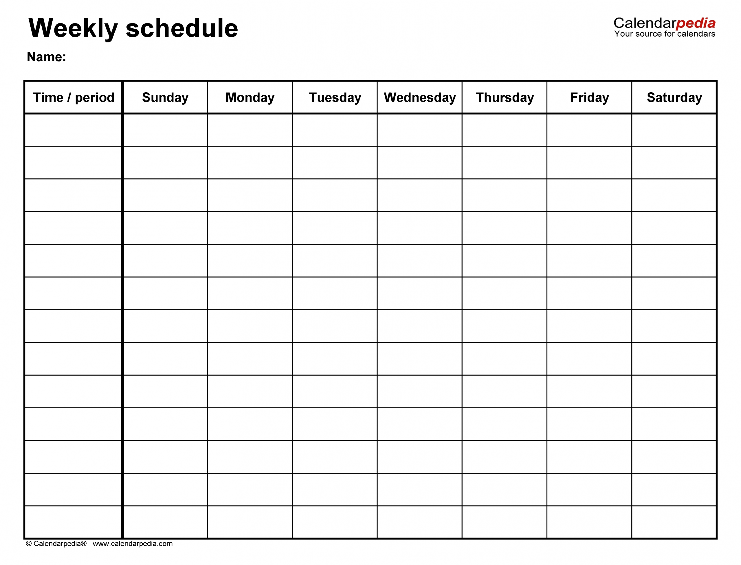 Monday To Friday Timetable Template | Calendar Template