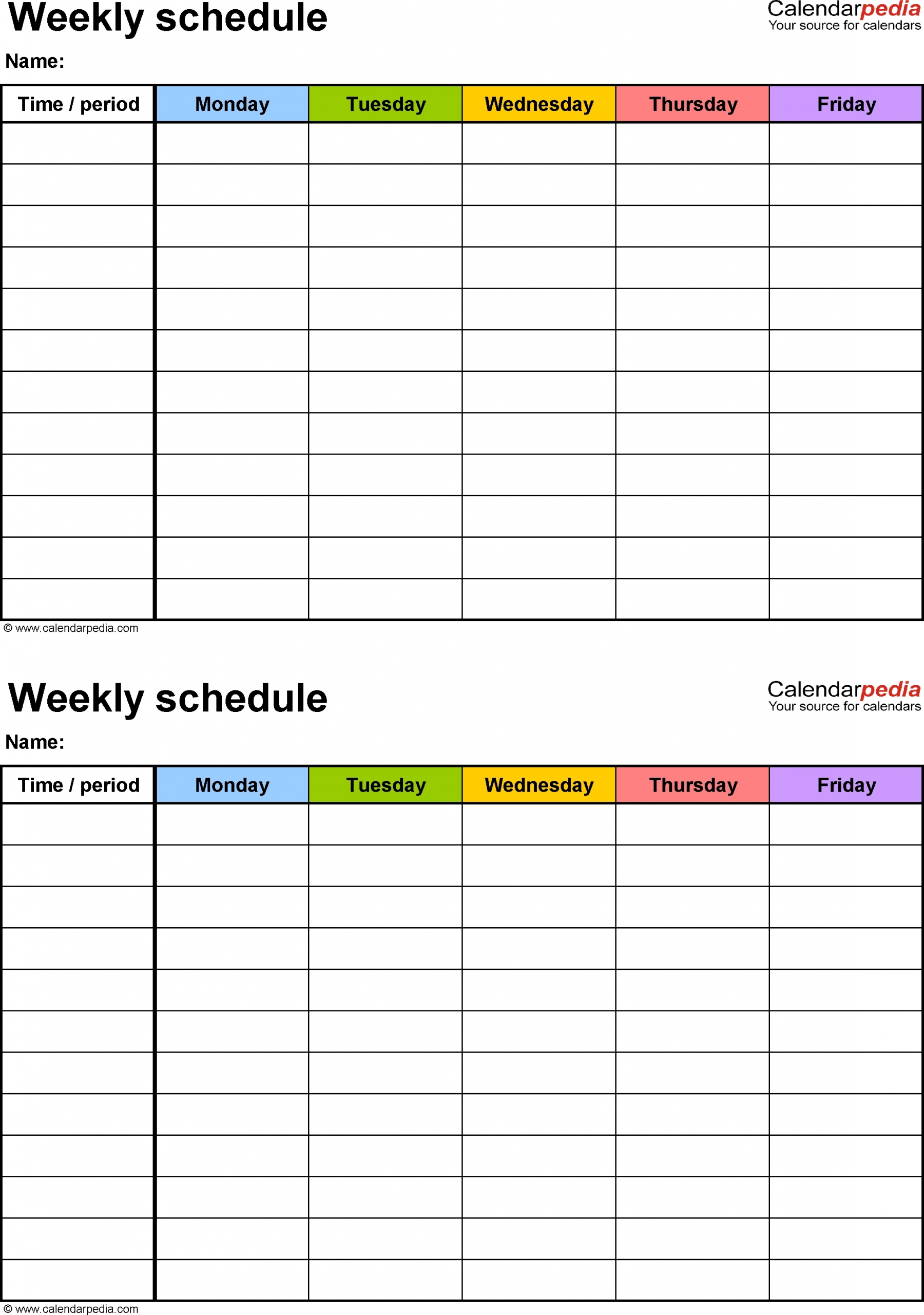 Monday To Sunday Weekly Planner Template Word   Calendar
