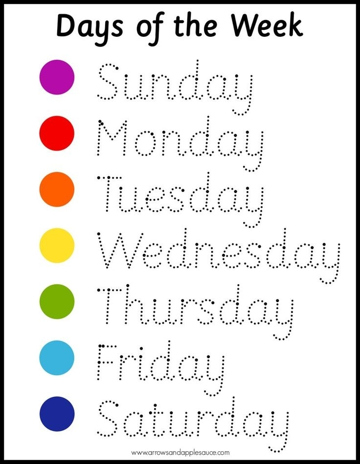 Montessori Days Of The Week Wheel & Tracing Worksheet