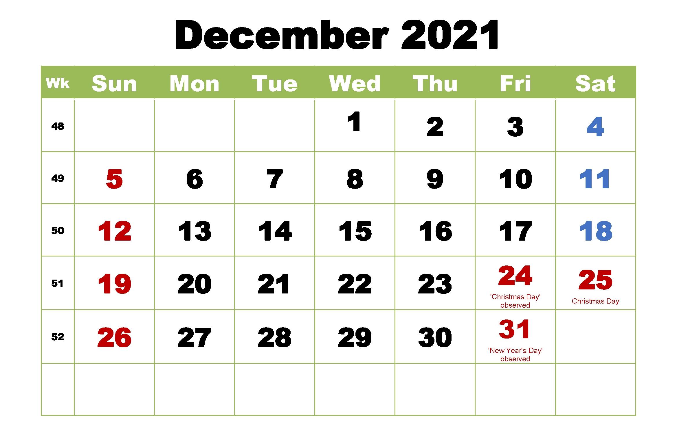 Monthly 2021 Printable Calendar Template