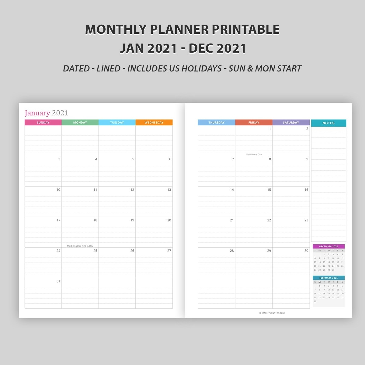 Monthly Calendar 2021 - Vertical Layout - Download Free