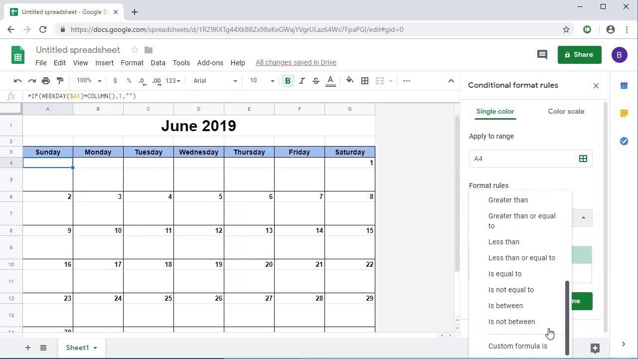 Monthly Calendar Google Sheets | Example Calendar Printable