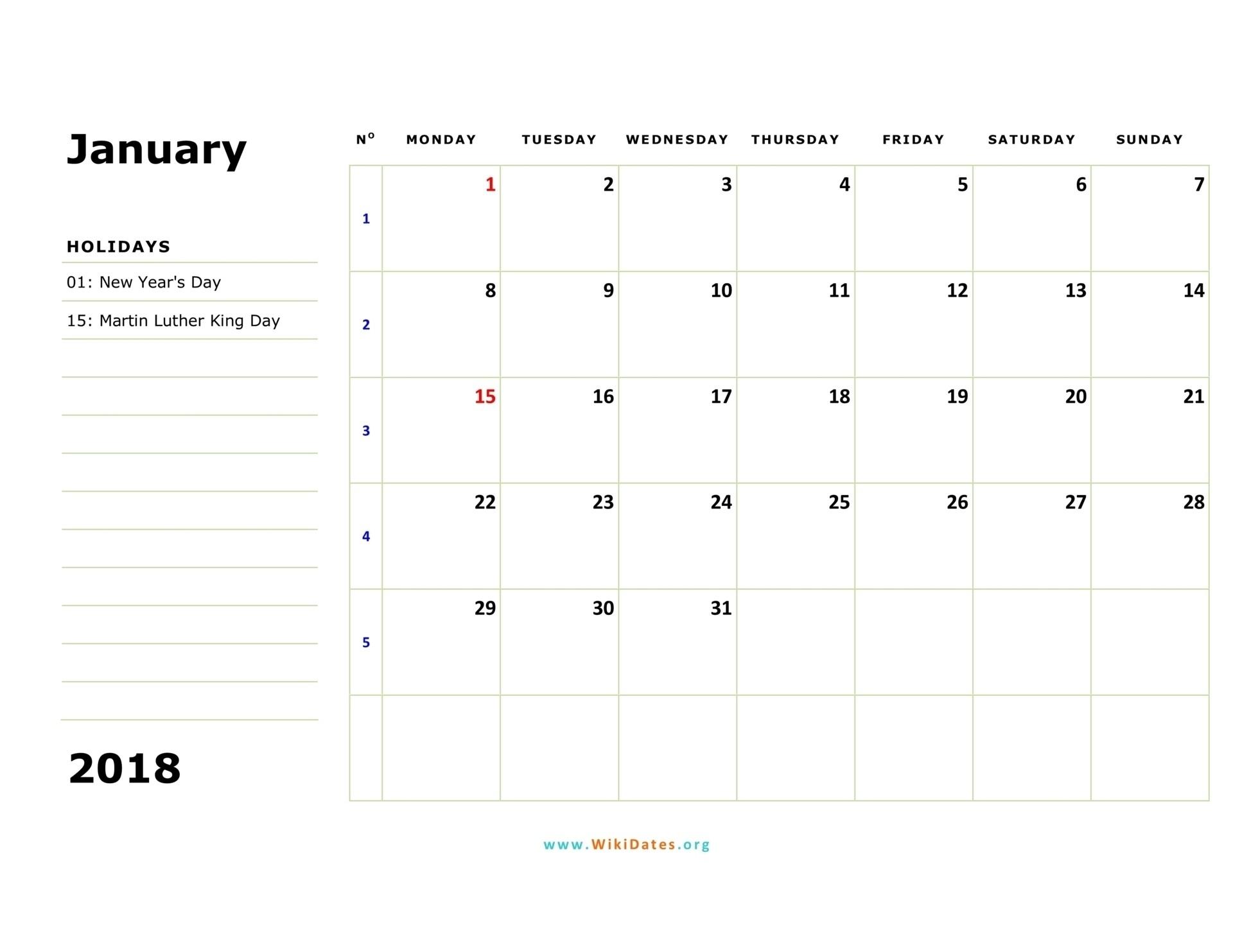 Monthly Calendar Monday Start Week | Calendar Template