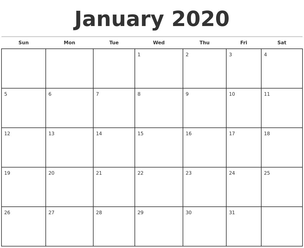 Monthly Calendar Monday -Sunday 2020 Printable Free