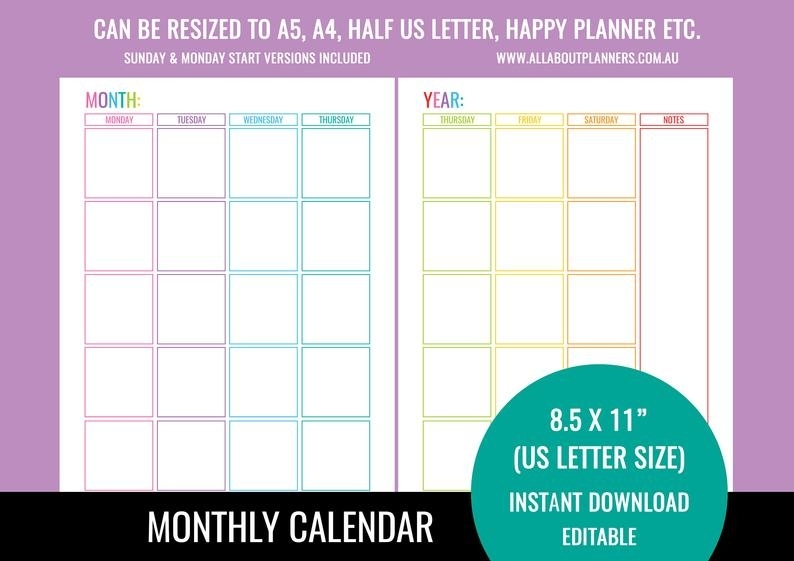 Monthly Calendar Printable 2 Pages Editable Fillable Pdf