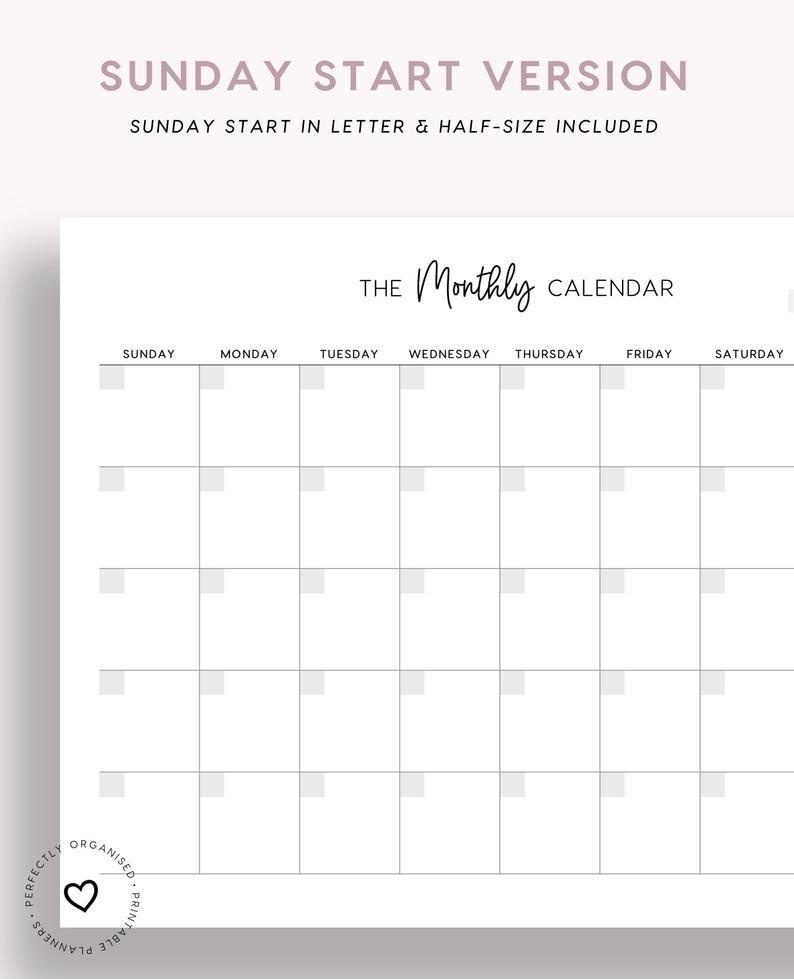 Monthly Calendar Printable Monthly Undated Calendar