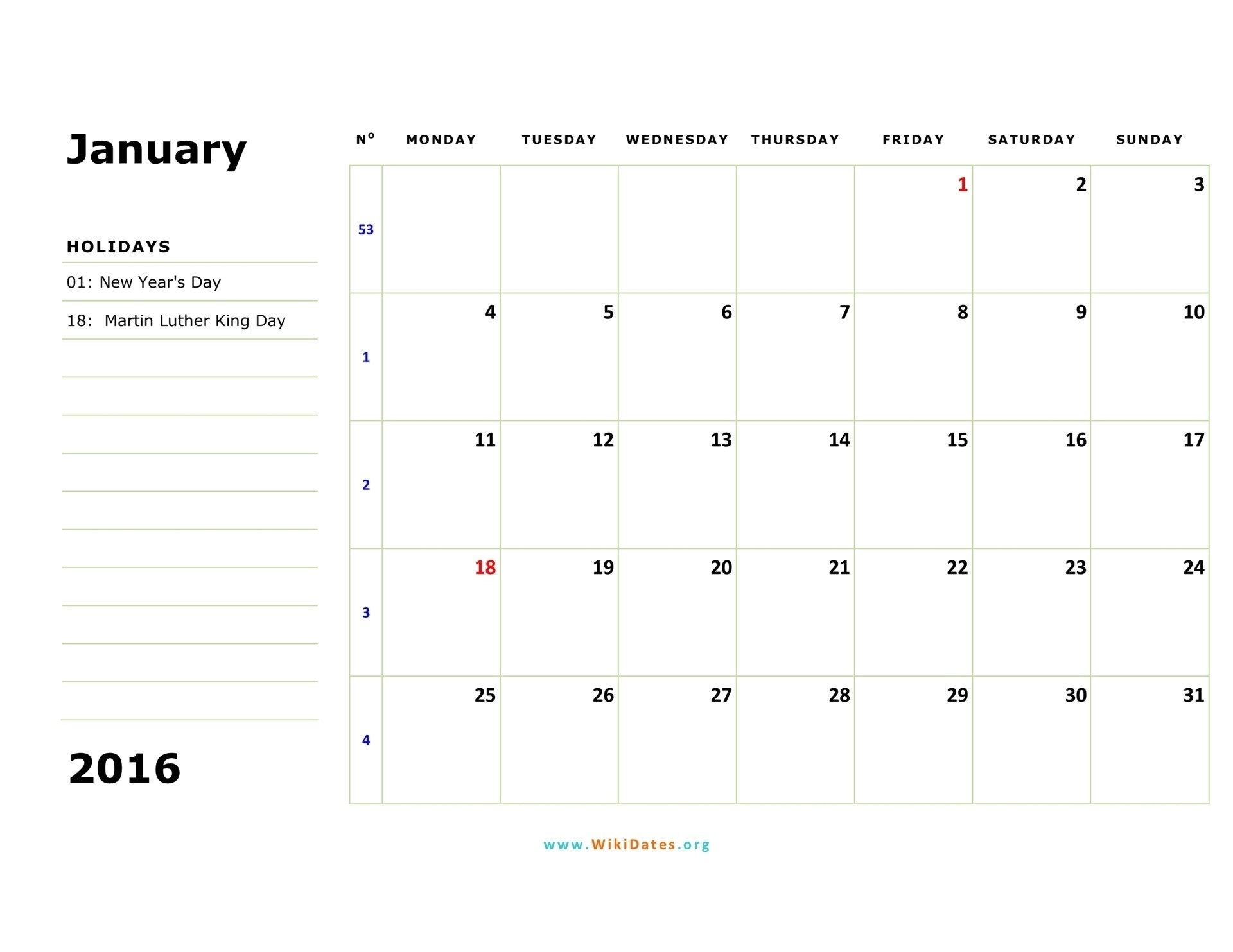 Monthly Calendar Starting Monday | Calendar Template Printable