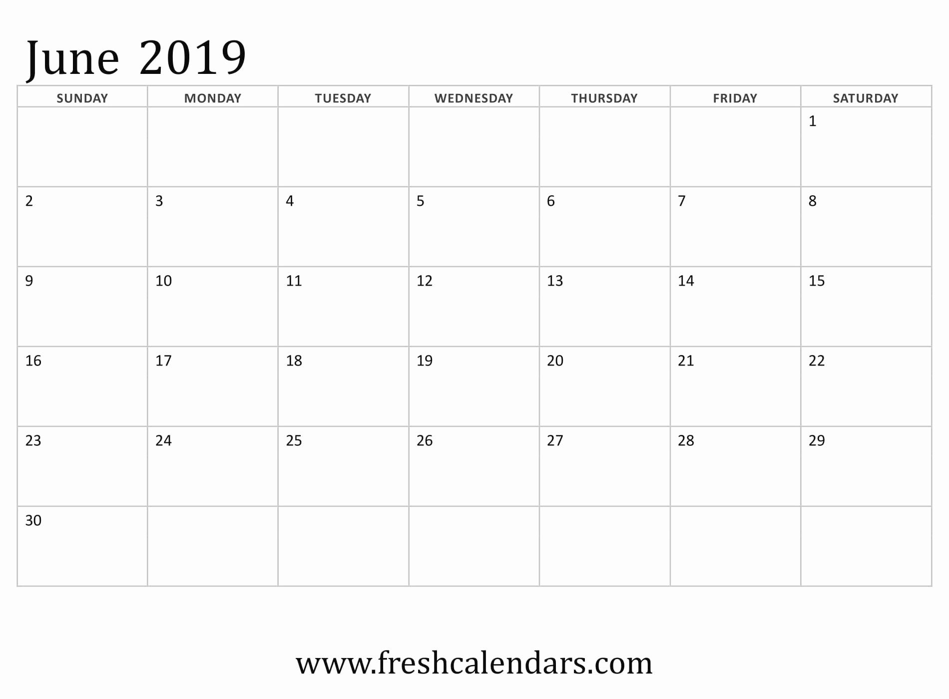 Monthly Calendar Template 2019 Inspirational June 2019
