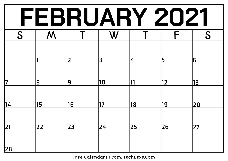 Monthly February 2021 Calendar Template - Printable