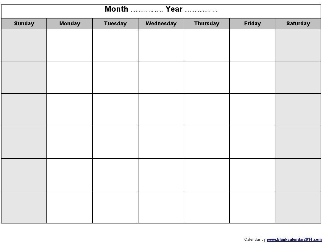Monthly Monday To Friday Calendar | Calendar Template