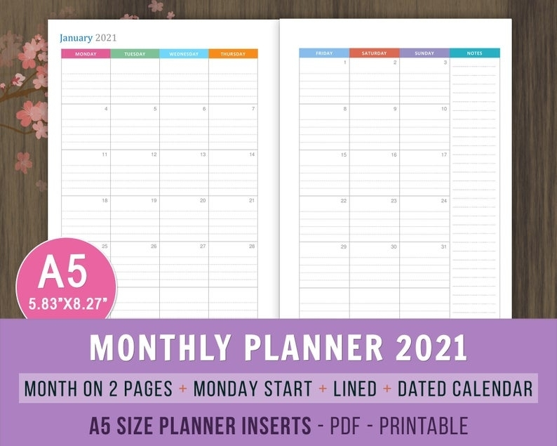 Monthly Planner 2021 Printable Inserts Lined Dated Monthly