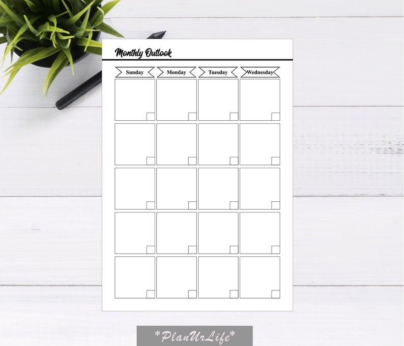 Monthly Planner Undated Monthly Calendar Undated Printable