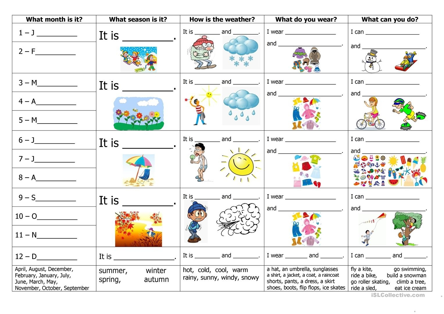 Months, Seasons, Weather, Clothes And Activities - English