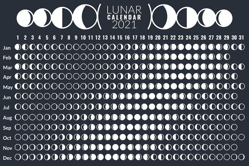 Moon Calendar. Lunar Phases Calendar 2021 Poster Design