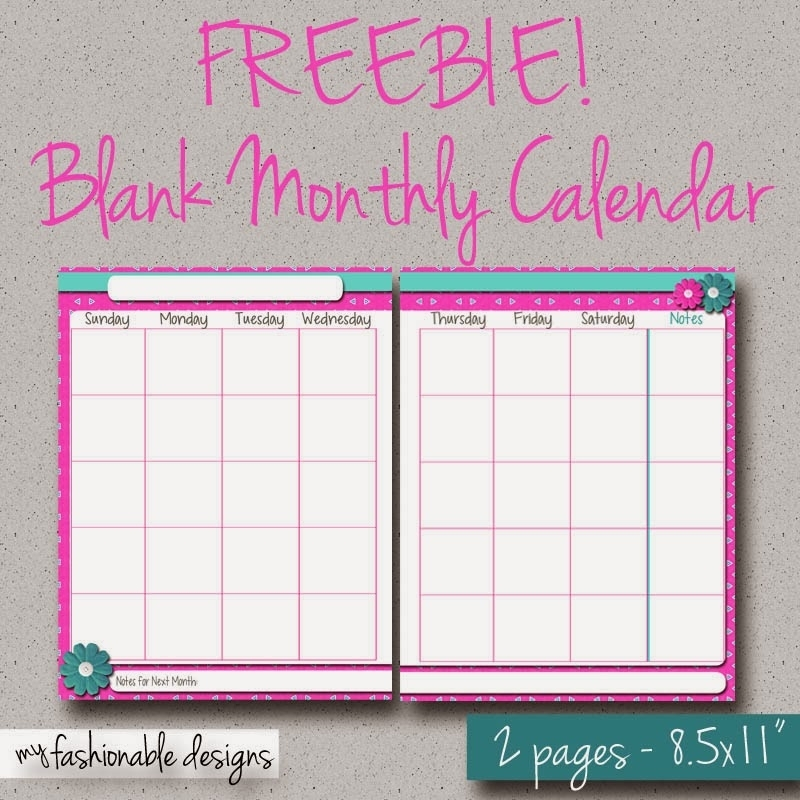 My Fashionable Designs: Free Printable 2-Page Monthly