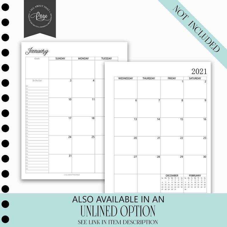 New 2021 Monthly Calendar Printable Two 2 Page Planner | Etsy