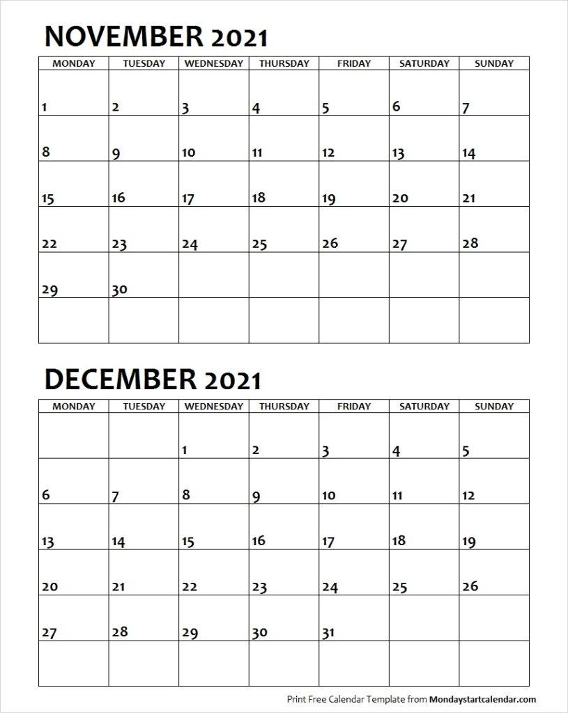 Nov Dec 2021 Calendar Monday Start   Editable Two Months