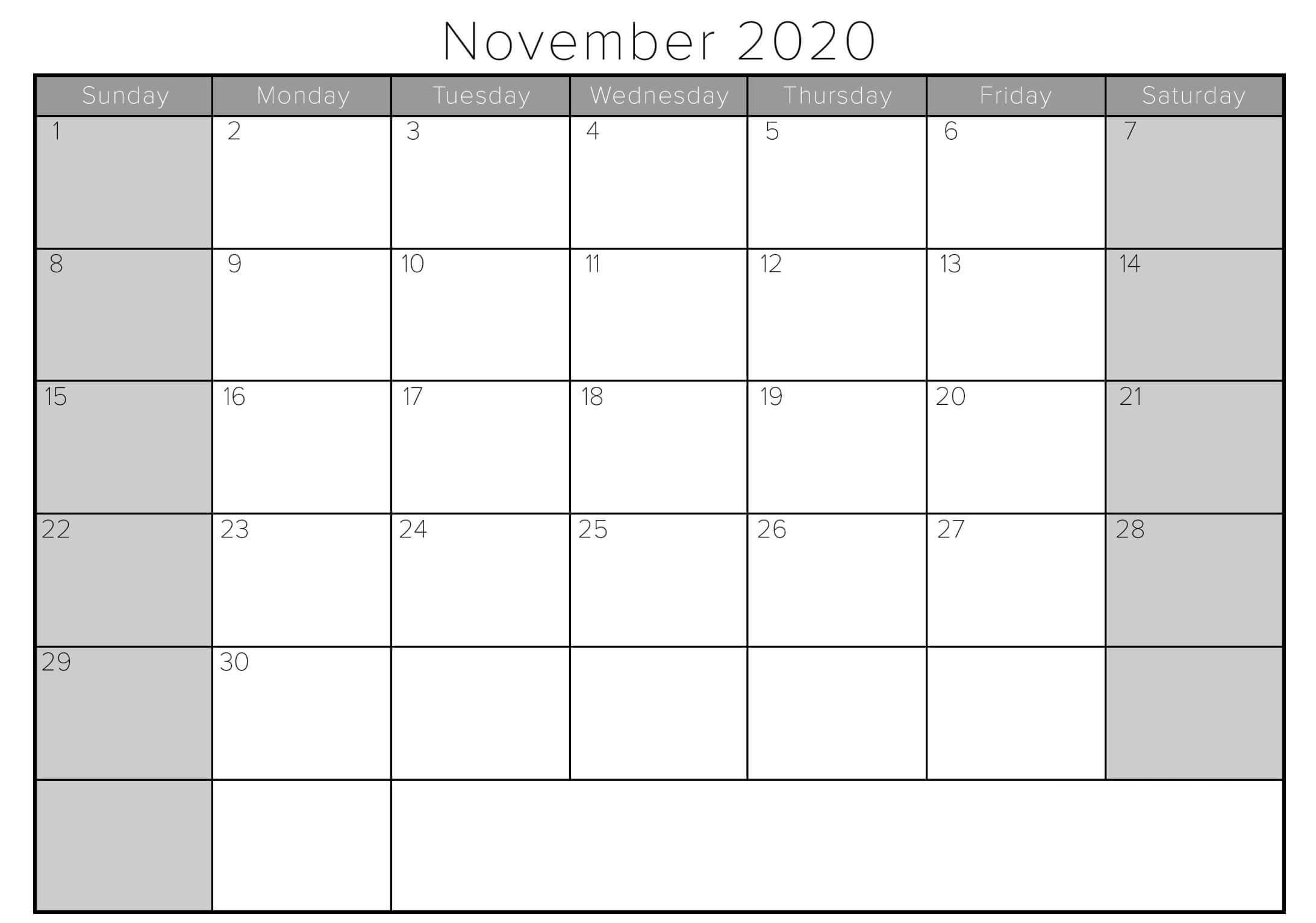 November 2020 Printable Calendar In Pdf Word Excel With