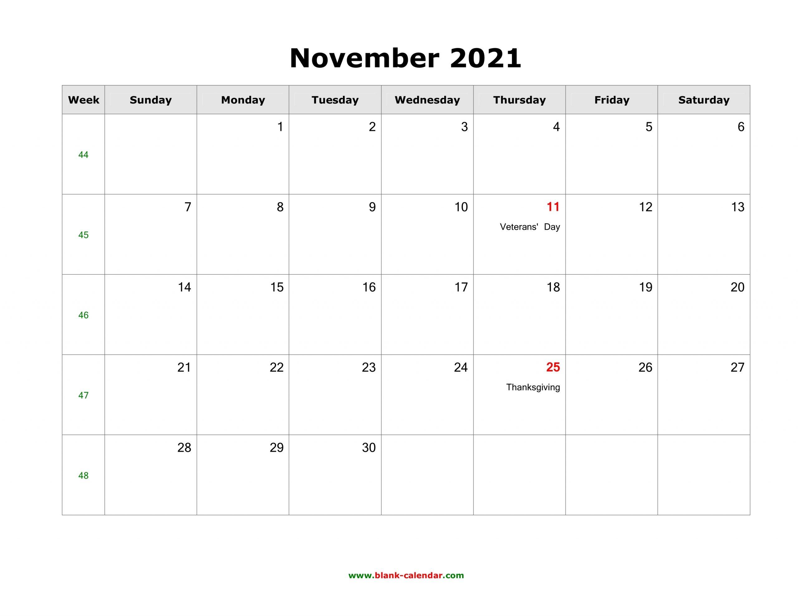November 2021 Blank Calendar | Free Download Calendar